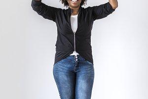 Black woman holding speech bubble
