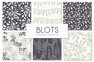 Blots. Seamless Patterns Set