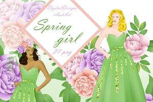 Spring girl clipart