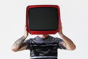 Person holding television (PSD)