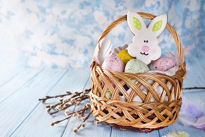 Easter Eggs and cookie rabbit with space for your greetings