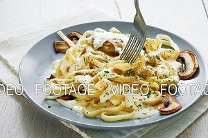 Tagliatelle Pasta with Mushrooms and creamy bechamel sauce