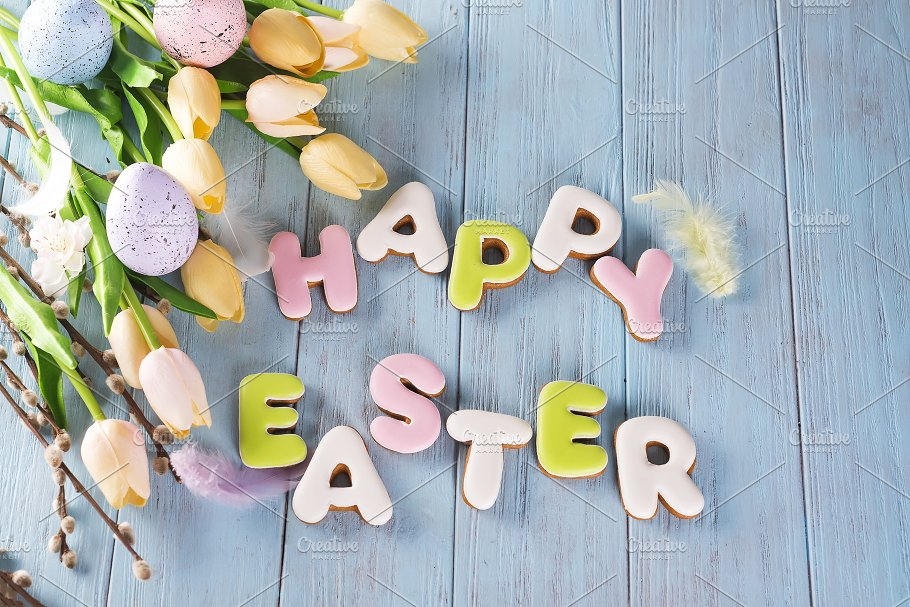 Easter Cookies Letter Happy And Colorful Eggs With Tulips On Wood Background Holiday Photos Creative Market
