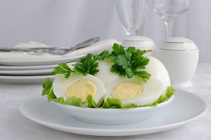 Boiled eggs in a cut