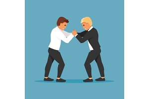 Fighting businessmen vector
