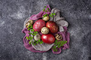 Easter painted chicken and quail eggs