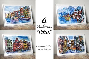 "4 Illustrations-sketchs ""Cities"""
