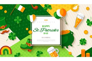 Patrick's Day card with flat icons