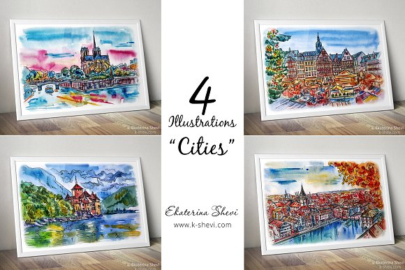 4 Illustrations-sketchs Cities