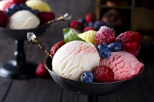 Bowl with ice cream with three different scoops of white, yellow and red colors,