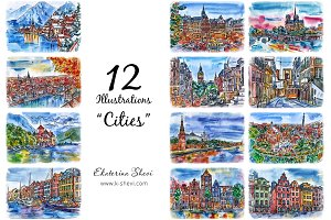 "12 Illustrations-sketchs ""Cities"""