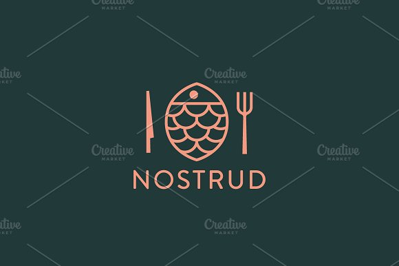 Fish Plate Vector Logotype Linear Seafood Logo