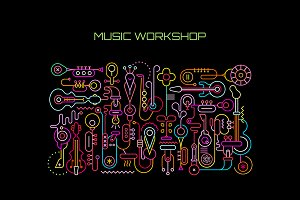 Music Workshop vector illustration