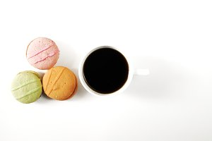 Morning breakfast with macaroons