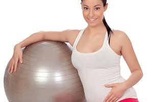Pregnant woman with a big ball