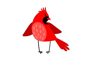 Cardinal bird icon isolated on white