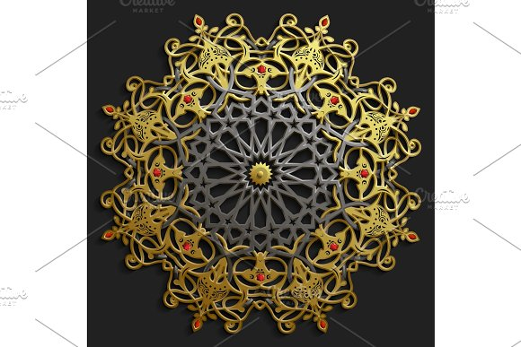 Islamic Oriental Pattern Set Abstract Vector Circle Ornament Collection Muslim Background East