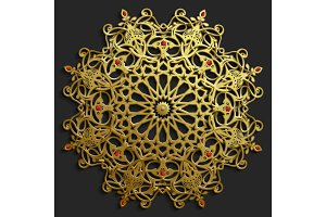 Islamic oriental pattern set, Abstract vector circle ornament collection. Vector muslim background. east ornament, indian ornament, persian motif,3D Wallpaper, banner, web design. Ramadan kareem. Gold
