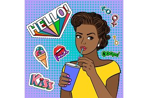 Pop art african girl with drink