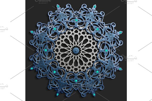 Islamic oriental pattern set, Abstract vector circle ornament collection. Vector muslim background. east ornament, indian ornament, persian motif,3D Wallpaper, banner, web design. Ramadan kareem. Blue