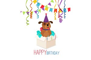 Happy birthday puppy in box card