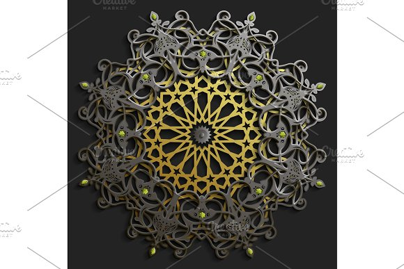 Islamic oriental pattern set, Abstract vector circle ornament collection. Vector muslim background. east ornament, indian ornament, persian motif,3D Wallpaper, banner, web design. Ramadan kareem.