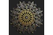 Islamic oriental pattern set, Abstract vector circle ornament collection. Vector muslim background. east ornament, indian ornament, persian motif,3D Wallpaper, banner, web design. Ramadan kareem.
