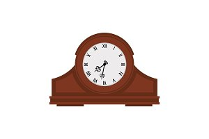 Analog old wooden wall clock