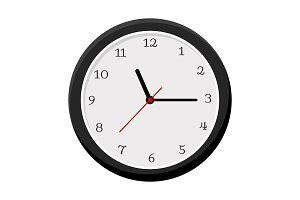 Simple wall clock isolated on white