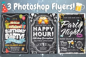 Chalk Party Flyer Bundle (30% off)