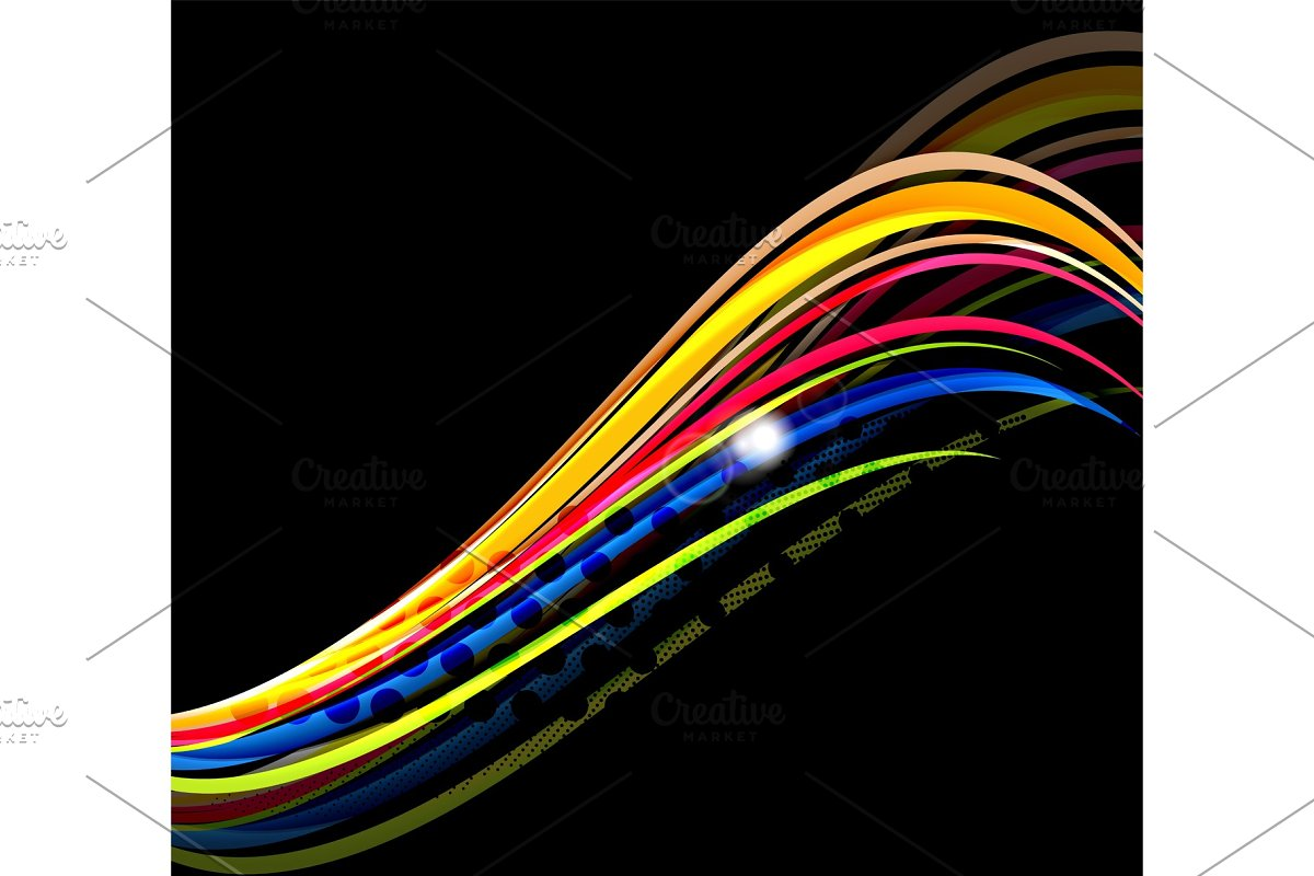 Rainbow color wavy lines on black background