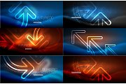 Set of technology connection and communication concept, glowing neon arrow symbol, linear shiny design in dark magic space