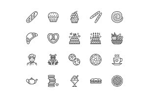 Bakery, Bread house Line Icons