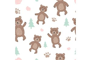 Childish seamless pattern with cute bear. Creative texture for fabric