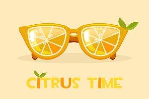 Citrus orange glasses. Hello Summer time, vector illustration