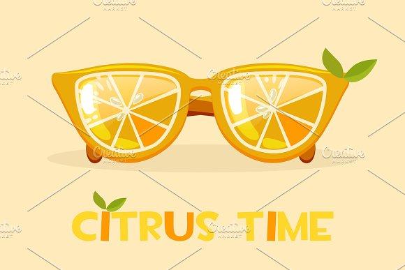 Citrus Orange Glasses Hello Summer Time Vector Illustration