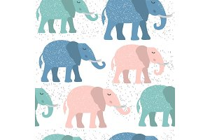 Childish seamless pattern with cute elephant. Creative texture for fabric