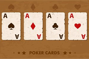 Illustration old four Poker Playing Cards