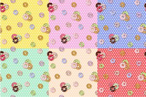Colorful donuts seamless pattern. Cartoon cute style.