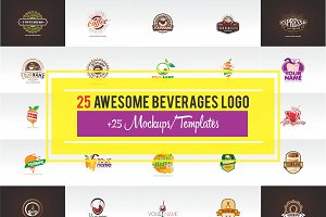 25 Awesome Beverages Logo + Mockups