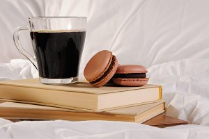 Morning cup of coffee and Macaroons