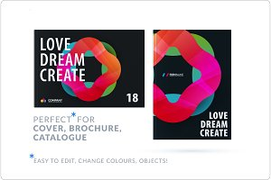 Creative design of business brochure set, abstract horizontal cover layout