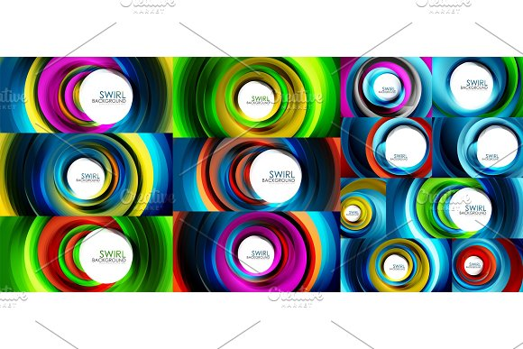 Swirling spiral background set, colorful stripes in Textures