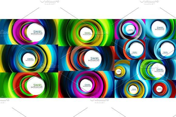 Swirling Spiral Background Set Colorful Stripes