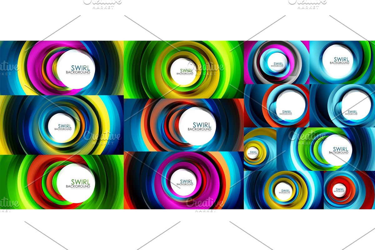 Swirling spiral background set, colorful stripes in Textures - product preview 8