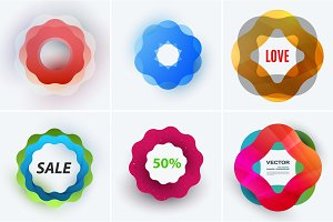 Set of modern design abstract templates. Creative business background with colourful soft waves for promotion