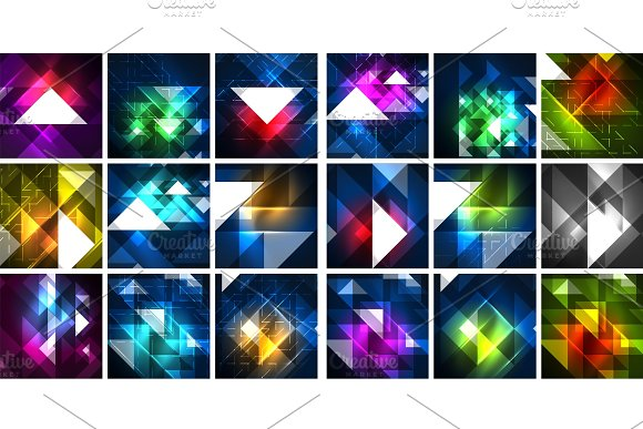 Mega Collection Of Neon Triangle Techno Digital Backgrounds Vector Magic Energy Illustrations