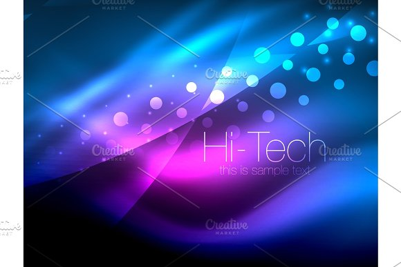 Neon wave background with light effects, curvy lines with glittering and shiny dots, glowing colors in darkness, magic energy