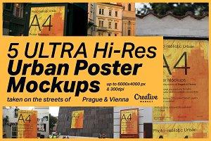 5 ULTRA Hi-res Urban Poster Mockups