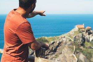 Tourist admiring the seascape
